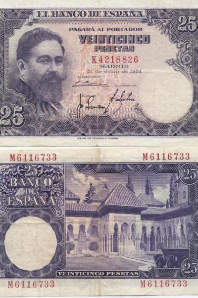 アルベニス肖像25ペセタ紙幣(1954年)