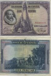 セルバンテス肖像100ペセタ紙幣(1928年)